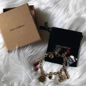 D&G The ONE Gold Tone Charm Bracelet